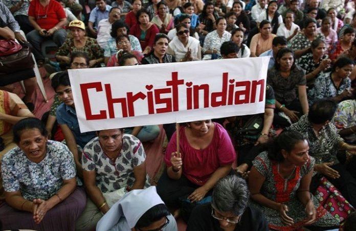 Акция протеста индийских христиан против гонений